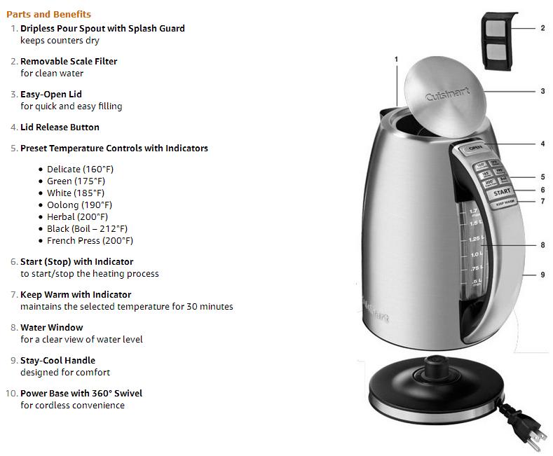 cuisinart kettle parts&features