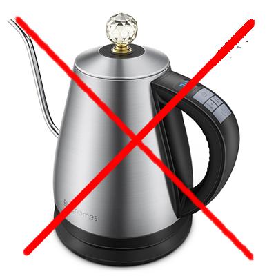 Metal kettle unsuitable for tea