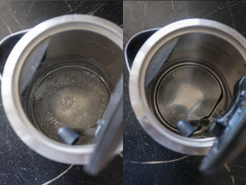 kettle with and without limescale